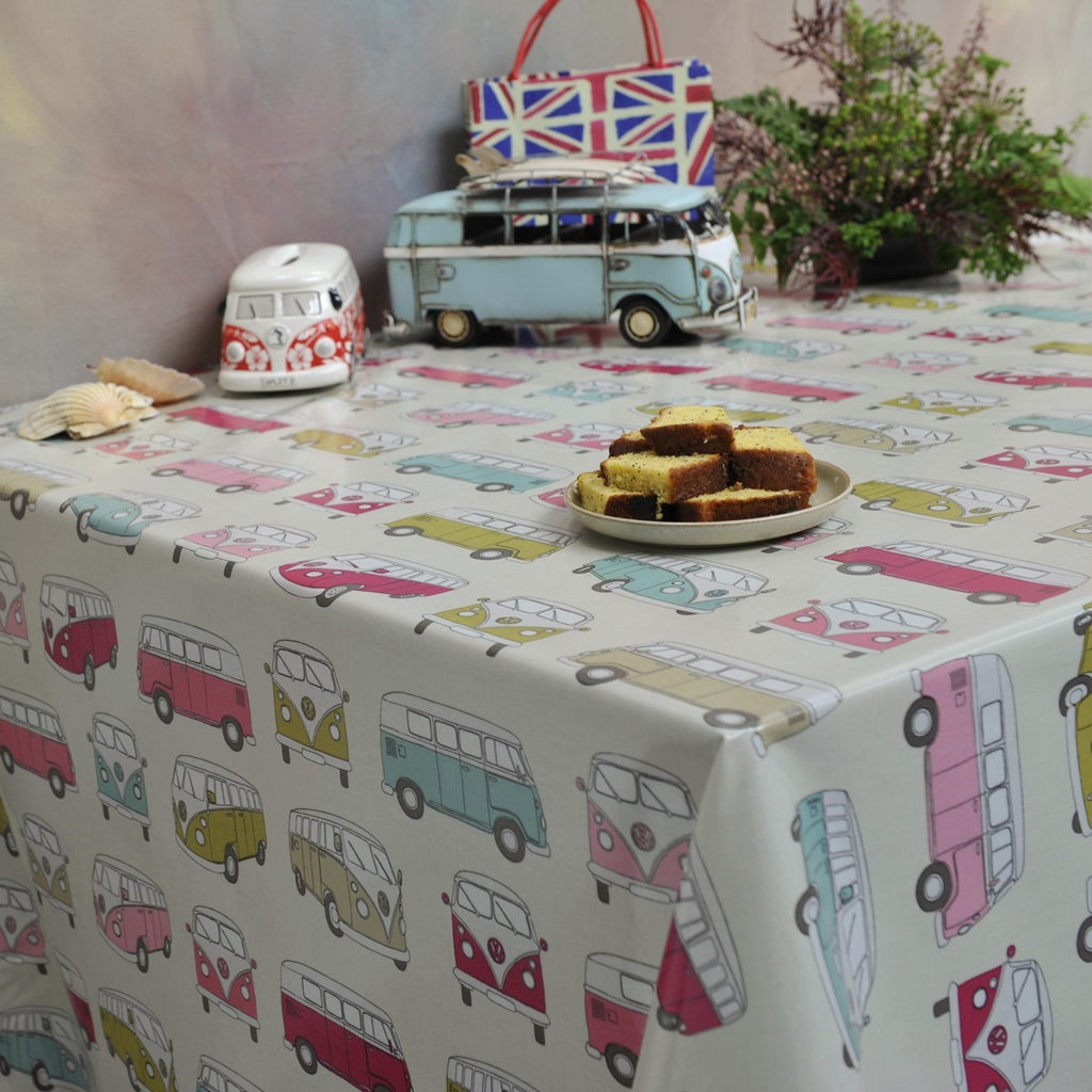 PVC Camper Van in the Pink 130cm Wipe Clean Tablecloth