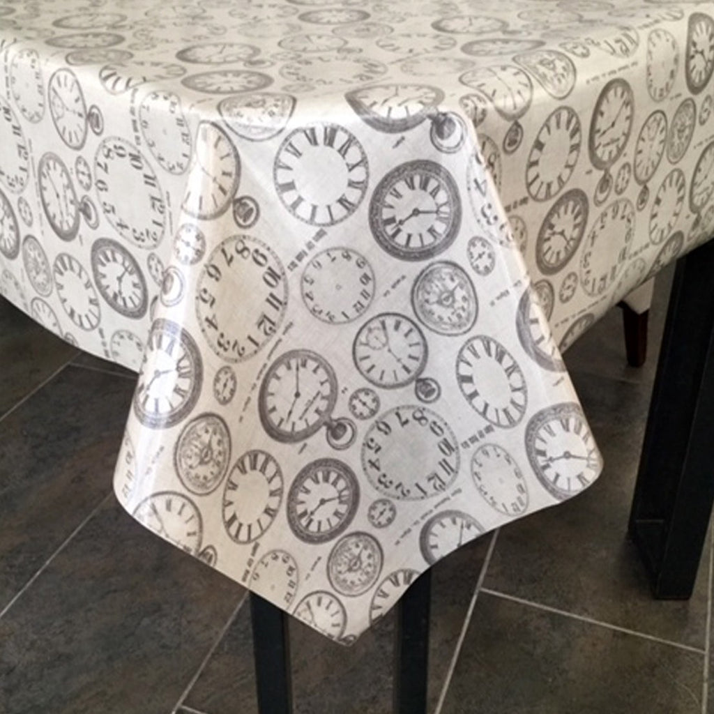 Tick Tock 130cm Wipe clean PVC Tablecloth