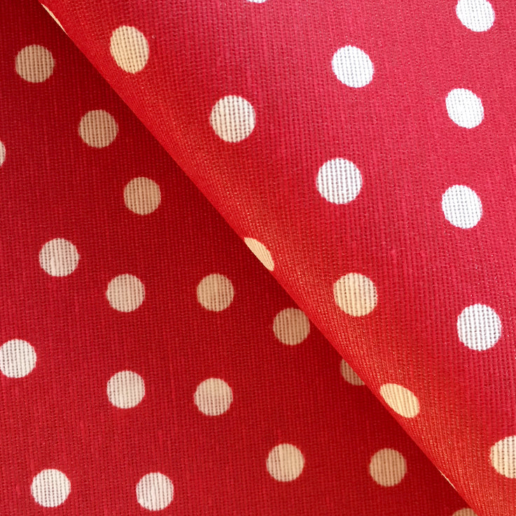 Dotty Red Yule 140cm Wipe clean Acrylic Tablecloth