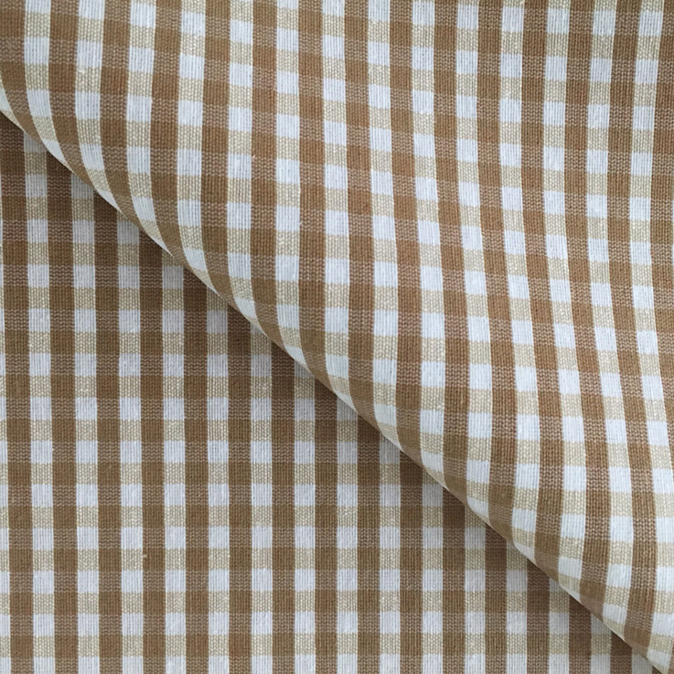 Gingham Coffee Extra Wide 180cm Wipe clean Acrylic Tablecloth