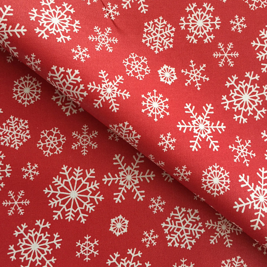 Red Snow Flake 140cm Wipe clean Acrylic Tablecloth