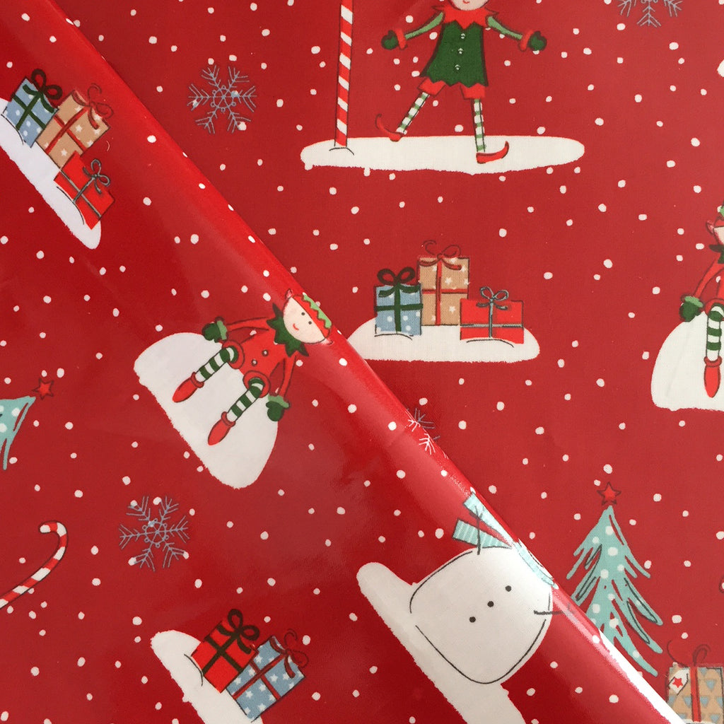 Santa Helpers 130cm Wipe Clean PVC/Oil Cloth Tablecloth