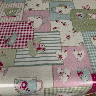 Teatime Pink 130cm Wipe Clean PVC Tablecloth