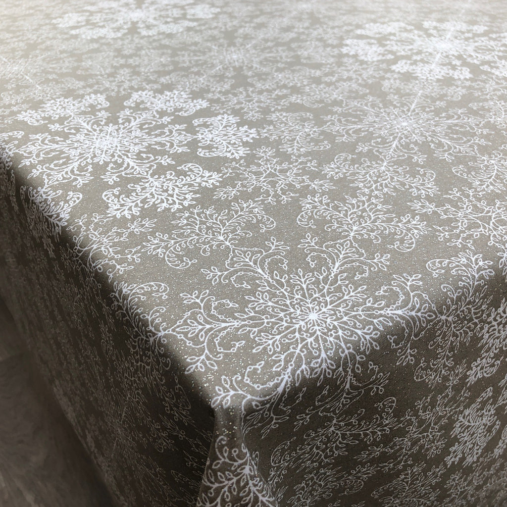 Christmas Sparkle Snow Flake 155cm Wipe Clean Acrylic Tablecloth