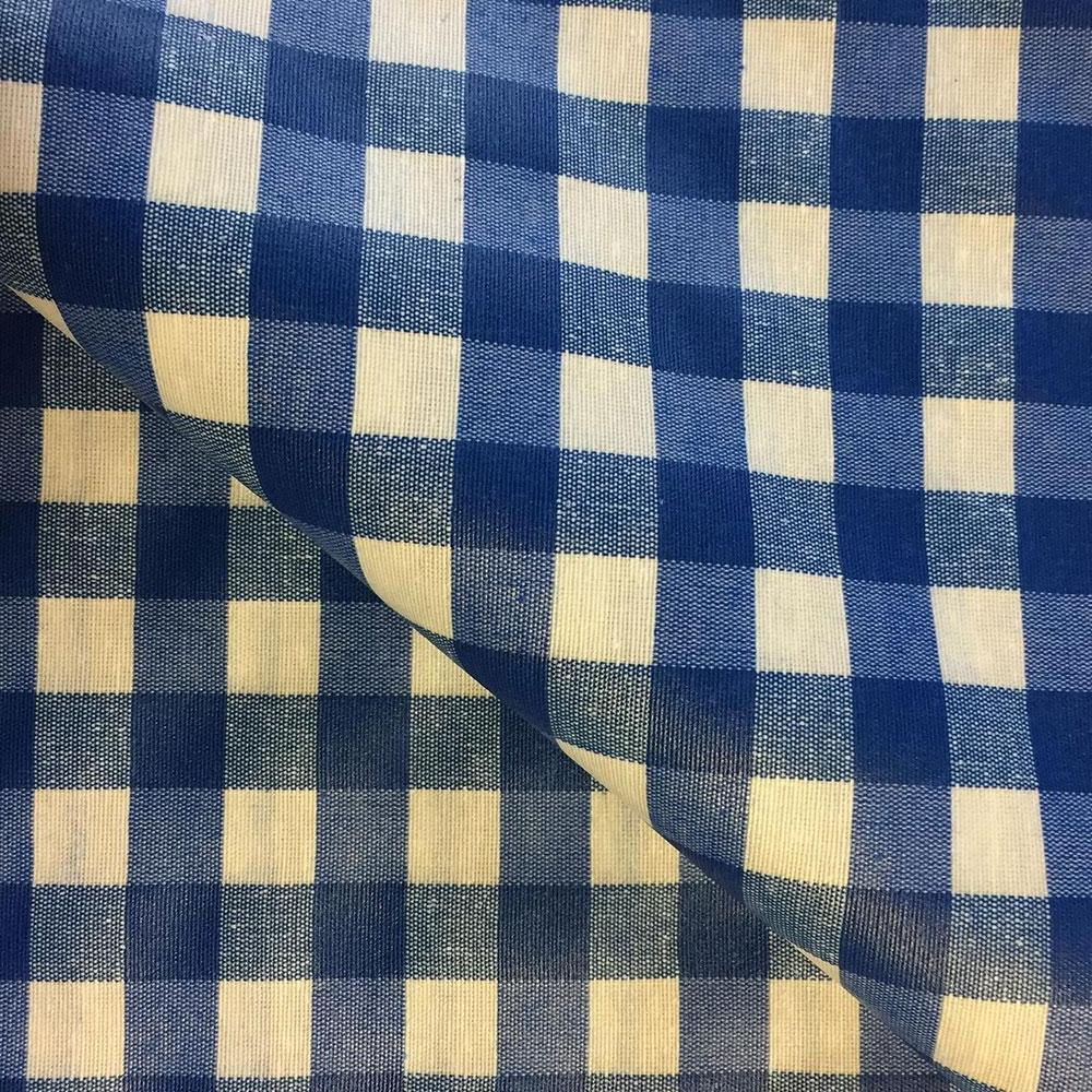 Blue Check 155cm Wipe clean Acrylic Tablecloth