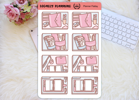 Easter computer flatlays planner stickers