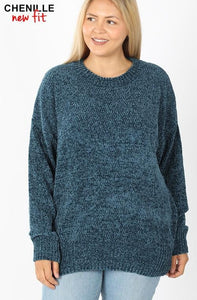 Curvy Chenille Round Neck Sweater - Teal