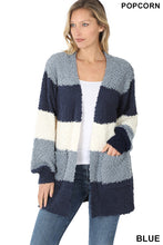 Load image into Gallery viewer, Colorblock Popcorn Cardigan - BLUE