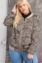 Load image into Gallery viewer, Curvy Animal Print Bomber Jacket