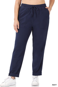 Drawstring Curvy Cuffed Hem Pants - NAVY