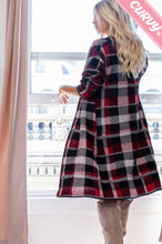 Load image into Gallery viewer, Curvy Plaid Knit Cardigan