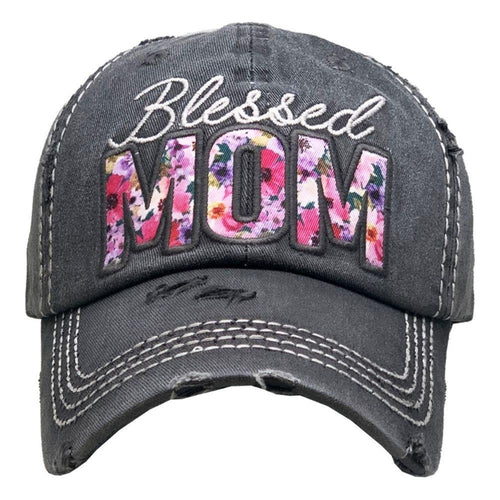 BLESSED MOM HAT - GRAY