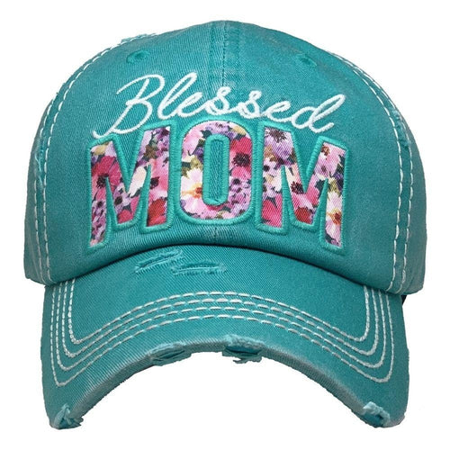 BLESSED MOM HAT - TEAL