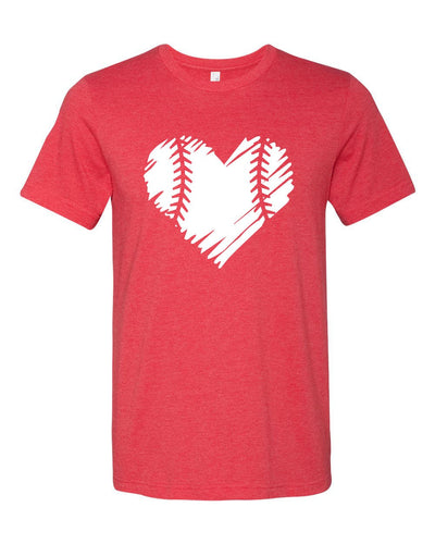 BASEBALL/SOFTBALL DISTRESSED HEART Graphic Tee