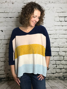 Striped Boxy Chenille Sweater