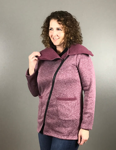 Fleece Lined Jacket with Wide Collar and Zipper Detail