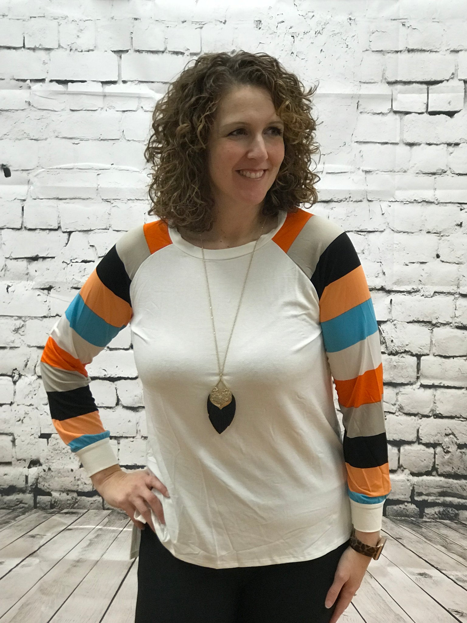 Solid Knit Top with Striped Raglan Sleeves