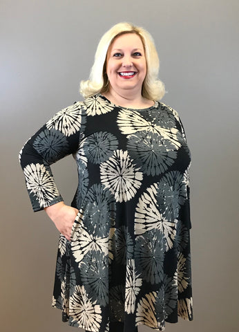 Inkblot Print Curvy Dress
