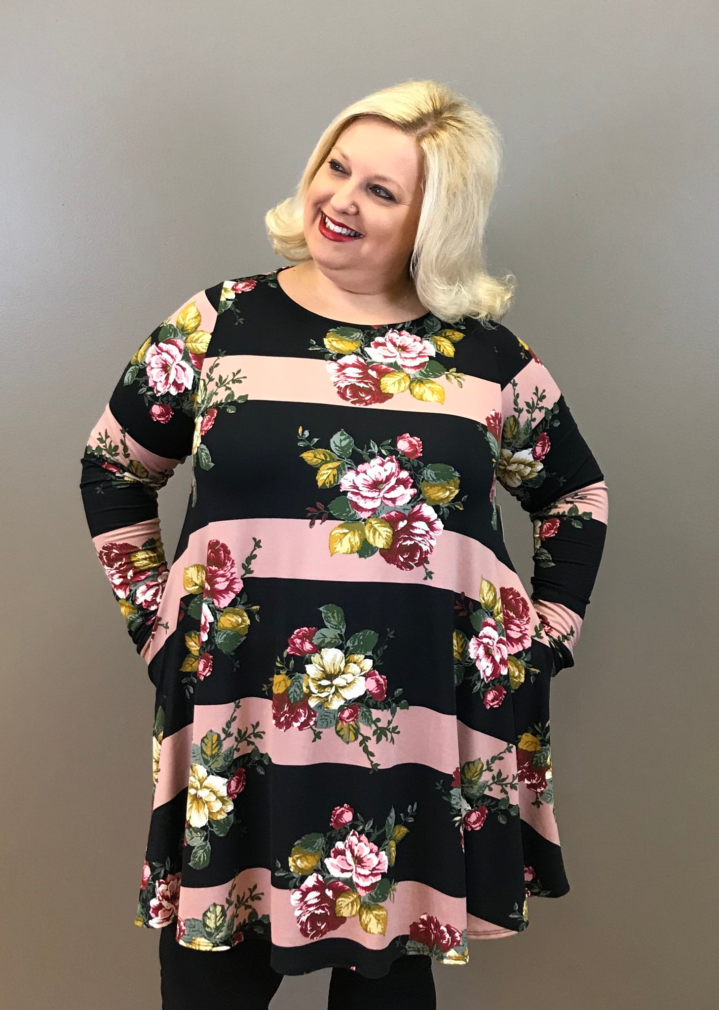 Stripe and Floral Curvy Tunic Dress