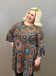 Medallion Print Curvy Dress