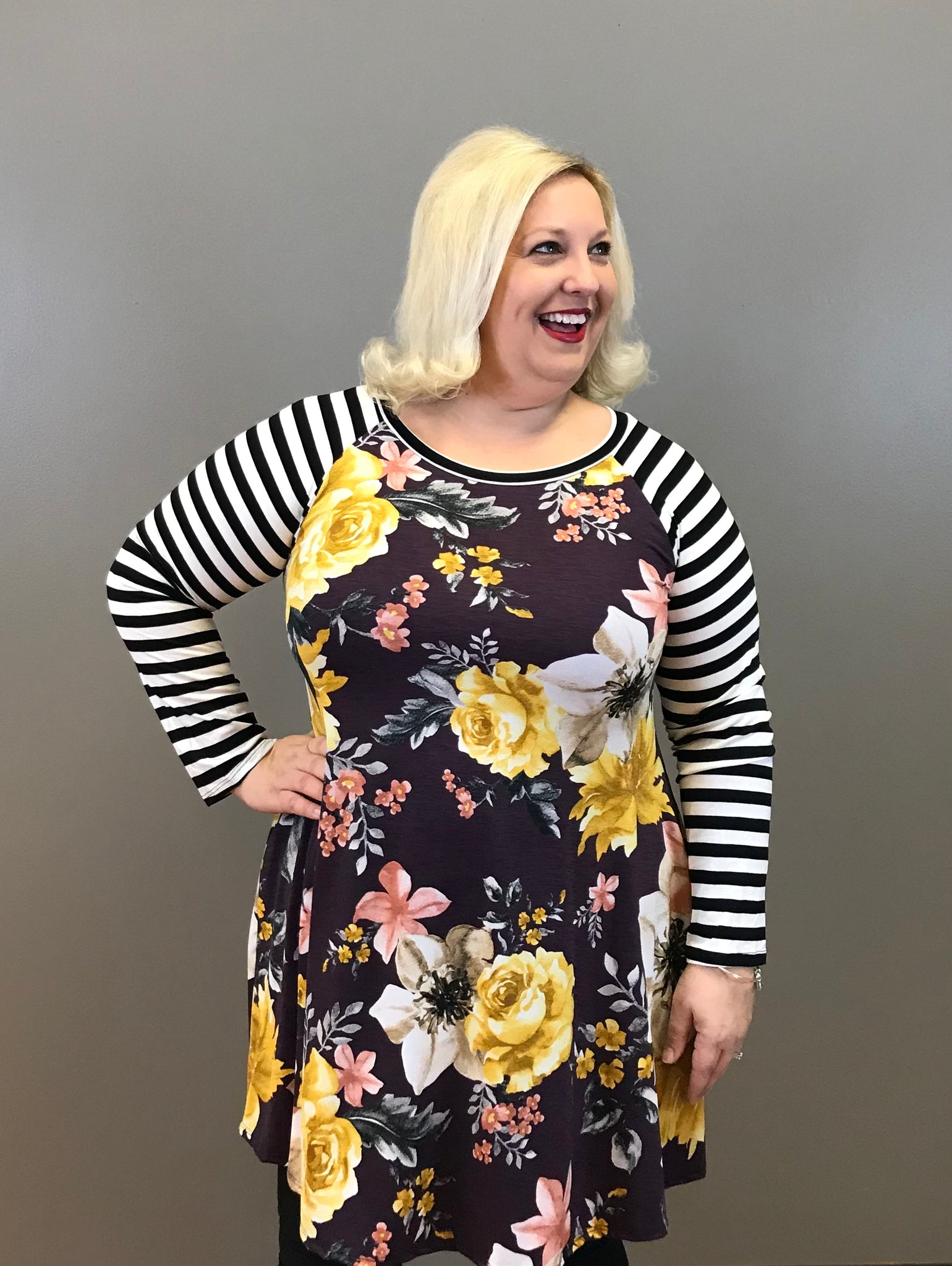Floral Curvy Dress with Raglan Striped Sleeves
