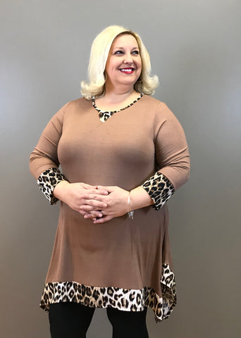 Leopard Trim Curvy Tunic Top