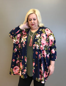Floral Open Front Dolman Sleeve Curvy Cardigan