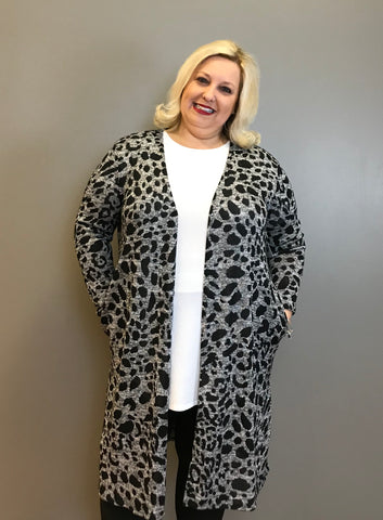 Snow Leopard Open Front Curvy Cardigan
