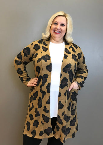 Curvy Leopard Open Front Cardigan with Pockets