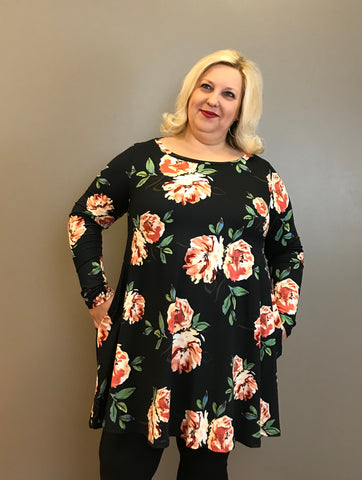 Floral Curvy Tunic Top