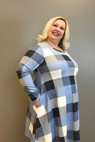 Checked Dress with Hidden Pockets
