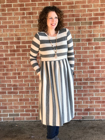 Soft Sweater Stripe Long Sleeve Dress