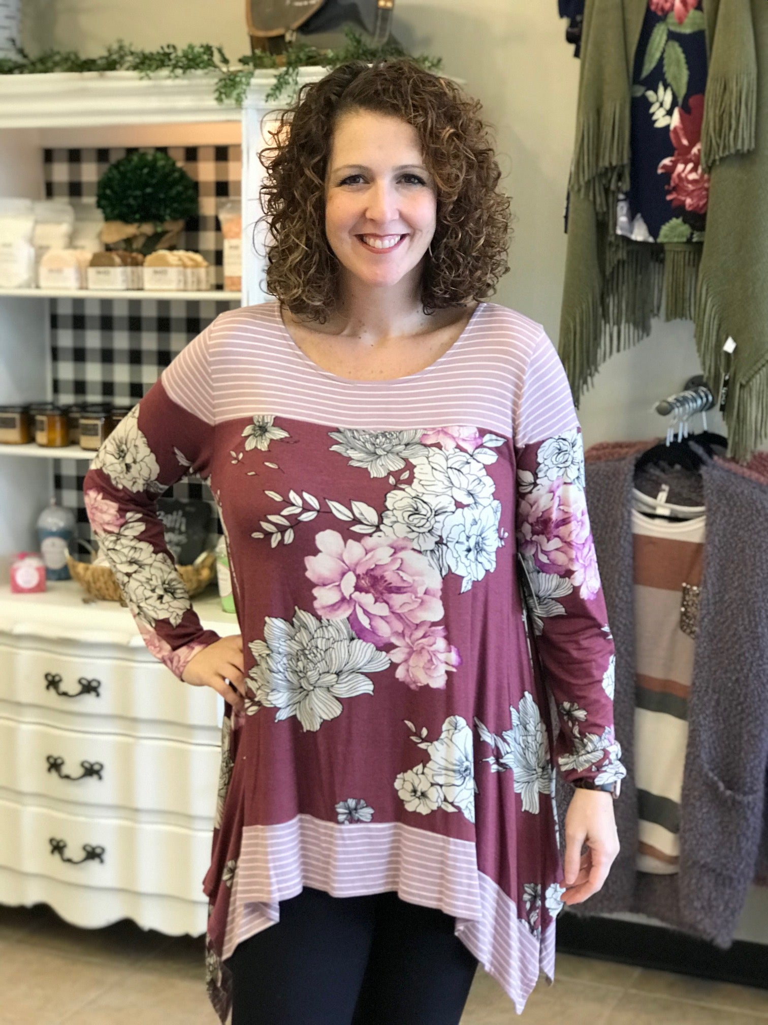 Curvy Stripe and Floral Blocked Tunic