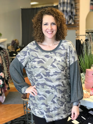 Curvy Dropped Shoulder Camo Top