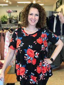 Curvy Floral Print Short Sleeve Swing Tunic