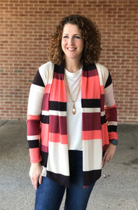 Elbow Patch Multi Stripe Cardigan