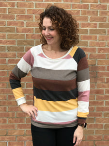 Multi Color Stripe French Terry Top