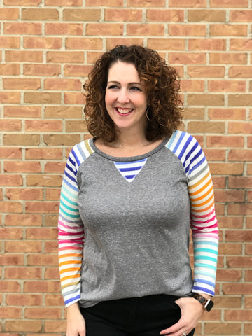 Rainbow Stripe Raglan Top