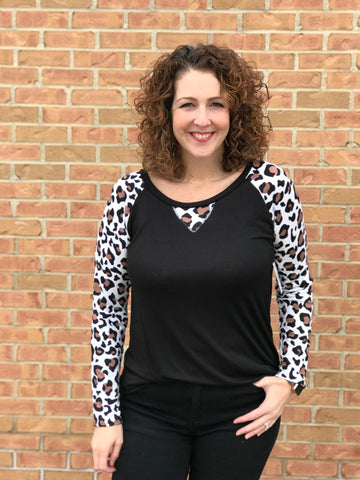 Raglan Top with Leopard Terry Sleeves