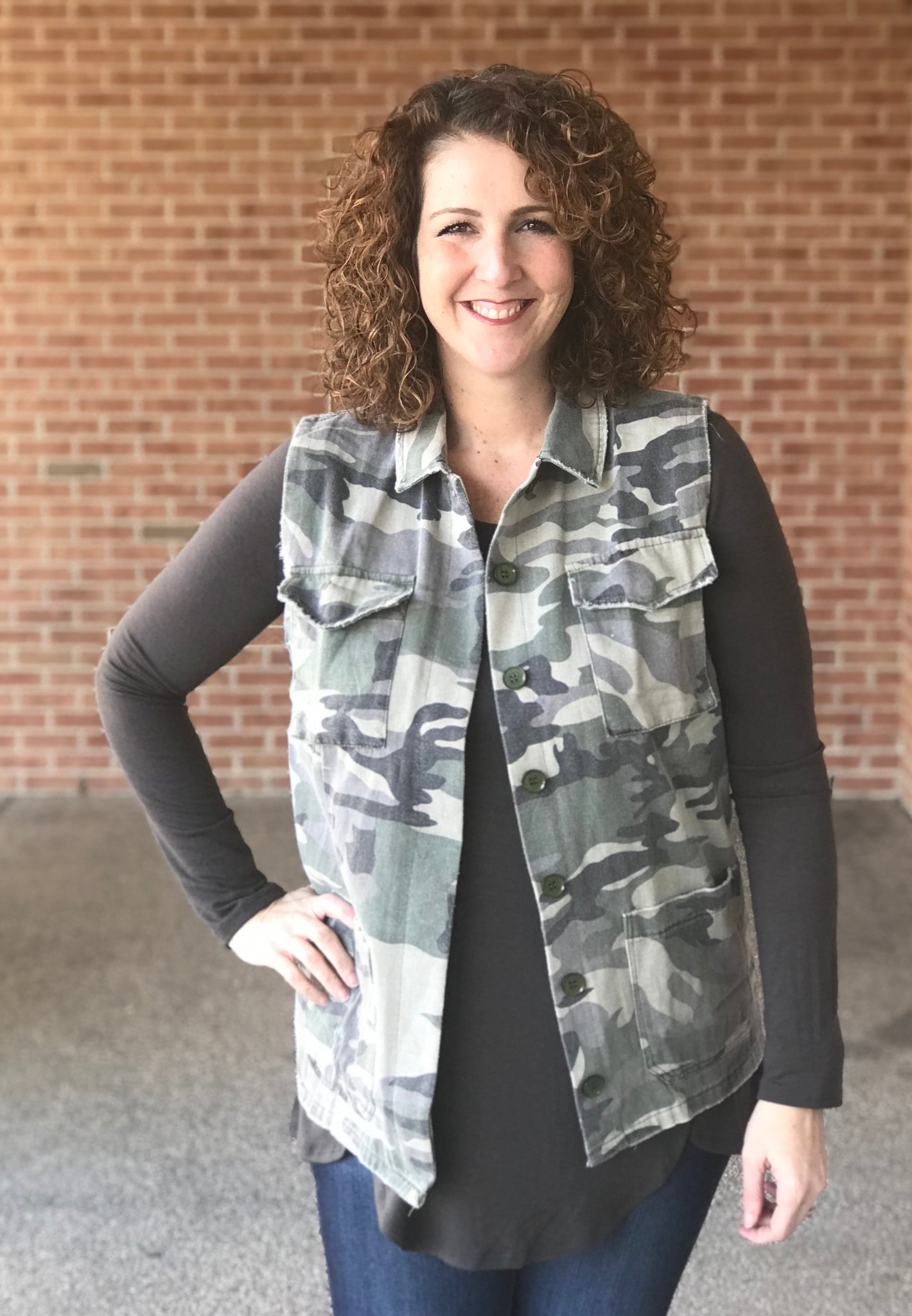 Army Camo Button Up Vest