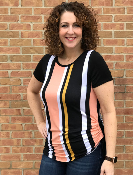 Striped Side-Ruched Tee