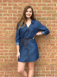 Denim Dress with Braided Tassel Tie