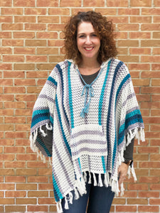 Striped Crochet Hooded Poncho