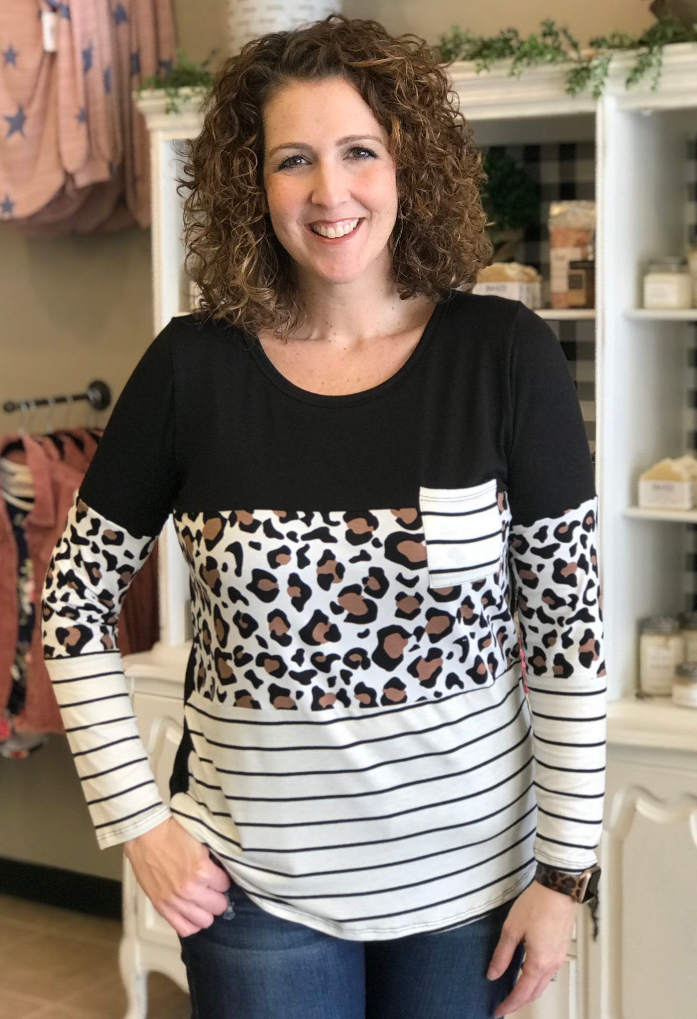 Leopard and Stripe Color Block Top