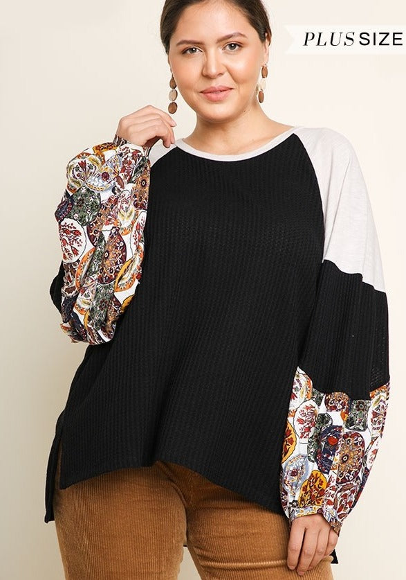 Waffle Knit Curvy Top with Medallion Print