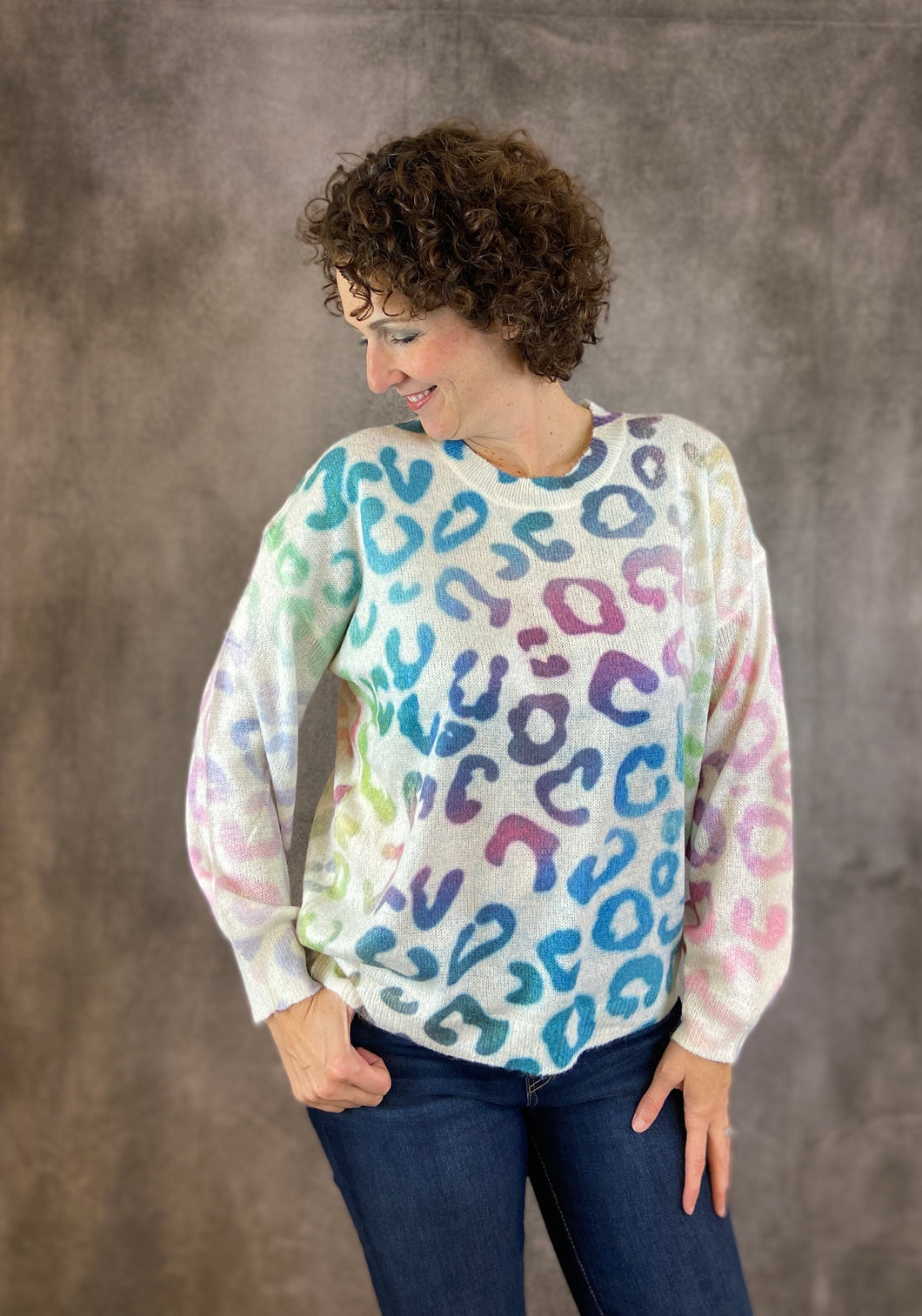 Ombre Rainbow Leopard Sweater