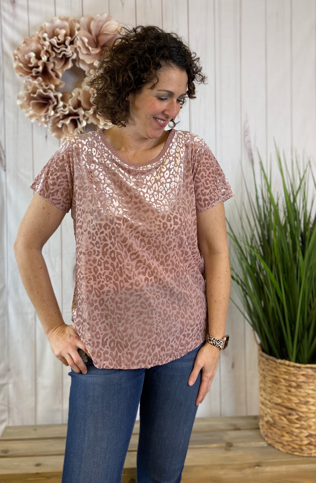 Velvet Leopard Burnout Top - BLUSH