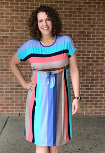 Multi Stripe Dress with Tie Detail