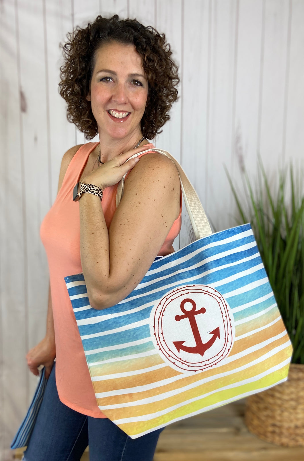 Striped Beach Bag with Anchor
