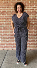 Load image into Gallery viewer, Animal Print Front Tie Wide Leg Jumpsuit